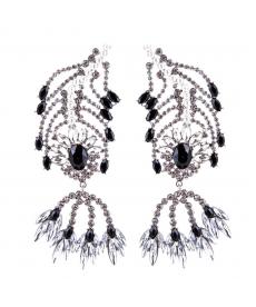 Moda 2018 Siyah Beyaz Taşlar Büyük Abiye Küpe Yaprak Damla Uzun Küpe 12 Cm
