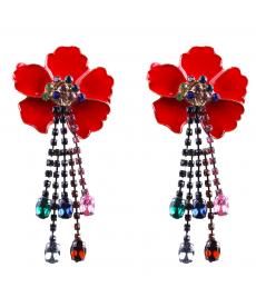 Renkli Taşlar Kırmızı Çiçek Küpe Avrupa Moda Takı Değişik Küpe Modelleri
