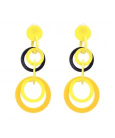 Sarı Geometrik Uzun Küpe Büyük Daire Sallantılı Küpe Modelleri