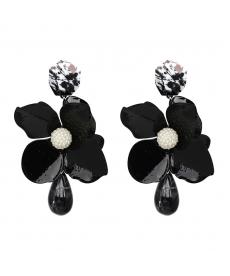 Siyah Çiçek Küpe Bohemian Büyük Çiçek Kadın Küpe Modelleri