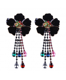 Siyah Çiçek Küpe Renkli Taşlar Avrupa Moda 2018 Takı Modelleri