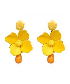 Yaz Stili Sarı Çiçek Küpe Moda 2018 Bohemian Çiçek Büyük Küpe