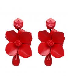 Yeni Sezon Çiçek Kırmızı Küpe Bohemian Çiçek Büyük Şık Zarif Küpe