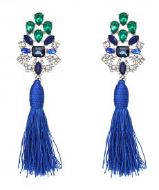 Yeni Tasarım Mavi Püsküllü Küpe Mavi Yeşil Taşlar Abiye Küpe Modelleri