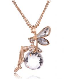 Altın Kaplama Peri Kolye Kristal Angel Wings Uzun Zincir Kolye Takı
