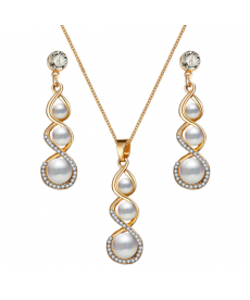 Altın Renk Beyaz Kristal Trendy Kolye ve Küpe Düğün Nişan Takı Setleri