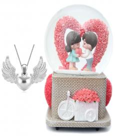 Angel Wings Kalpli Kolye Romantik Aşk Kalpli Müzük Kutusu Sevgiliye Hediyeler