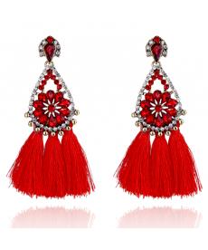Avrupa Moda 2019 Büyük Küpe Modelleri Çiçek Kristal Kırmızı Püskül Küpe