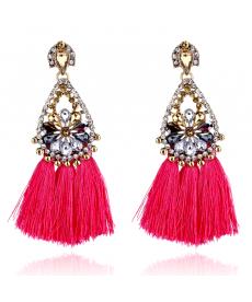 Avrupa Moda 2019 Büyük Uzun Küpe Modelleri Çiçek Kristal Pembe Püskül Küpe