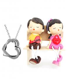 Bankta Oturan Love Sevgili Biblo Çift Kalp Kolye Romantik Hediyeler
