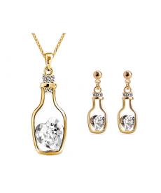 Beyaz Kalp Taş Kolye ve Küpe Yeni Model Romantik Takı Setleri