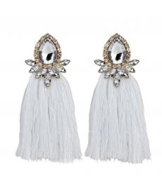 Beyaz Kristal Taş Su Damlası Uzun Püskül Küpe Kadınlar İçin Moda Takılar