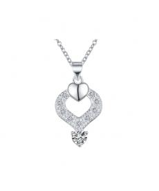 Beyaz Taş Kalp Kolye 925 Gümüş Kaplama Sevgililer Günü Hediyeleri