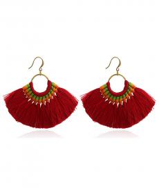 Bohemia El Yapımı Kırmızı Renkli Püskül Küpe Moda 2019 Küpe Takı Aksesuarları