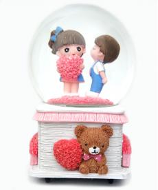 Büyük Boy Kalpli Karlı Sevgililer Müzük Kutusu Hediyelik Eşyalar