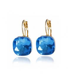Deniz Mavi Avusturyalı Kristal Şık Abiye Küpe Modelleri