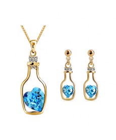 Deniz Mavi Kalp Taş Kolye ve Küpe Yeni Tasarım Romantik Takı Setleri