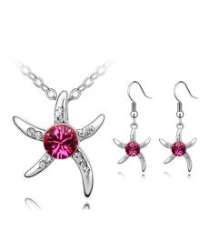 Deniz Yıldızı Gümüş Kaplama Kolye ve Küpe Moda Hediye Takı Setleri