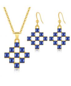 Dubai Model Kare Mavi Taş Altın Renk İmitasyon Takı Setleri