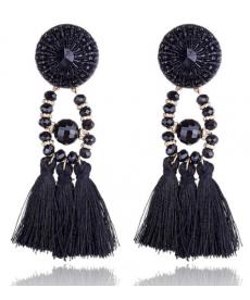 Etnik Vintage Uzun Küpe El Yapımı Siyah Püskül Küpe Modelleri 2019