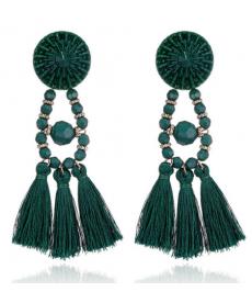 Etnik Vintage Uzun Küpe El Yapımı Yeşil Püskül Küpe Modelleri 2019