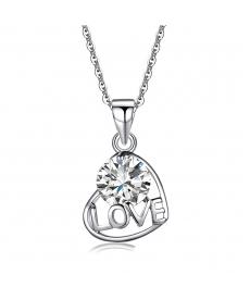 Gümüş Kaplama Aşk Kalp Beyaz Zirkon Love Kolye