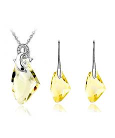 Gümüş Kaplama Sarı Kolye ve Sarı Kristal Taş Küpe Online Takı Satış