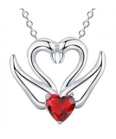 İki Kuğu Kalp Kırmızı Taş Kolye Gümüş Kaplama Moda Bohemia Takı Kolye