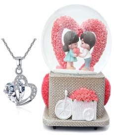 Kalp Şeklinde Zarif Beyaz Taş Kolye Kalpli Romantik Aşk Müzük Kutusu Hediyeler