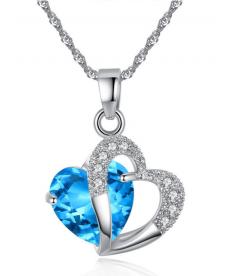 Kalp Şeklinde Zarif Mavi Taşlı Kolye