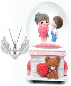 Kalpli Sevgililer Müzük Kutusu Ve Angel Wings Kalpli Kolye Hediyelik Eşyalar