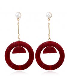 Kırmızı Akrilik Yuvarlak Şekil Küpe Takı Aksesuarları Kırmızı Küpe Modelleri