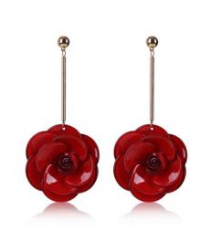 Kırmızı Çiçek Taç Yaprağı Küpe Takı Akrilik Uzun Büyük Sallantılı Küpe