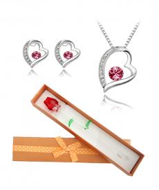 Kırmızı Kristal Gül Ve Kalp Kolye Küpe Sevgiliye Hediyeler