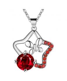 Kırmızı Taş Kelebek Kolye 925 Gümüş Kaplama Sevgiliye Hediye