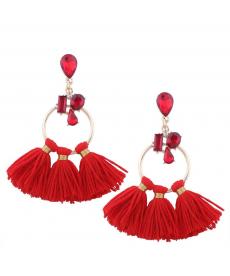 Kırmızı Taş Küpe Avrupa Moda 2019 Büyük Kırmızı Püsküllü Küpe