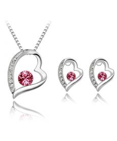 Kırmızı Taşlı Kalp Kolye ve Küpe Gümüş Kaplama Takı Setleri