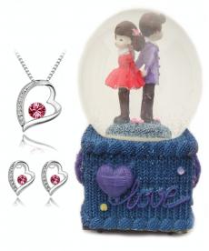 Kırmızı Taşlı Kalp Takı Seti Müzik Kutusu Sevgili Biblo Romantik Hediyeler