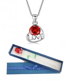 Kırmızı Zirkon Love Kolye Ve Kristal Gül En Güzel Hediyeler