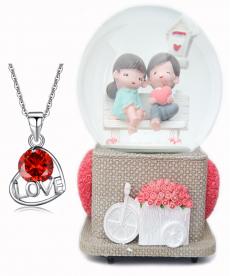 Kırmızı Zirkon Love Kolye Ve Sweet Müzük Kutusu Sevgililer Günü Hediyeleri