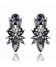 Lüks Retro Siyah Küpe Opal Taş Moda 2018 Abiye Küpe Modelleri