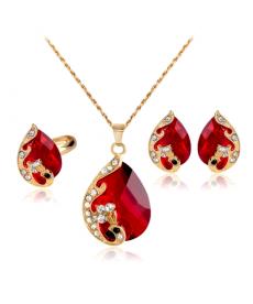 Marka Tasarım Takı Seti Kristal Kırmızı Küpe Kolye Yüzük En Güzel Hediyeler