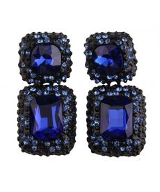 Mavi Kare Kristal Küpe Kadın Aksesuar Abiye Takıları