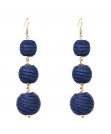 Mavi Ponpon Küpe 2019 Tasarım Sallantılı Mavi Küpe Modelleri