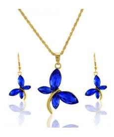 Mavi Taşlı Kelebek Kolye Ve Küpe Set Yüksek Kalite Ucuz Hediye Takı Setleri