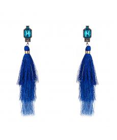 Moda 2019 Mavi Püskül Küpe Bohem Mavi Kare Kristal 16 Cm Uzun Küpe