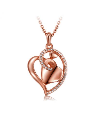 Rose Gold Rengi Kalp Kolye Avusturya Kristal Kalp Sevgililer Günü Hediyeleri