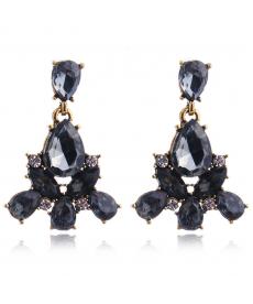 Siyah Abiye Küpe Moda 2019 Kristal Taşlı Takı Modelleri