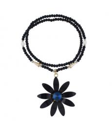 Siyah Çiçek Mavi Taşlı Kolye Uzun Kazak Gömlek Üstü Kolyeler