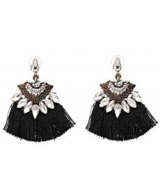 Üçgen Bohemian Küpe Kristal Siyah Püskül 2019 Küpe Modelleri